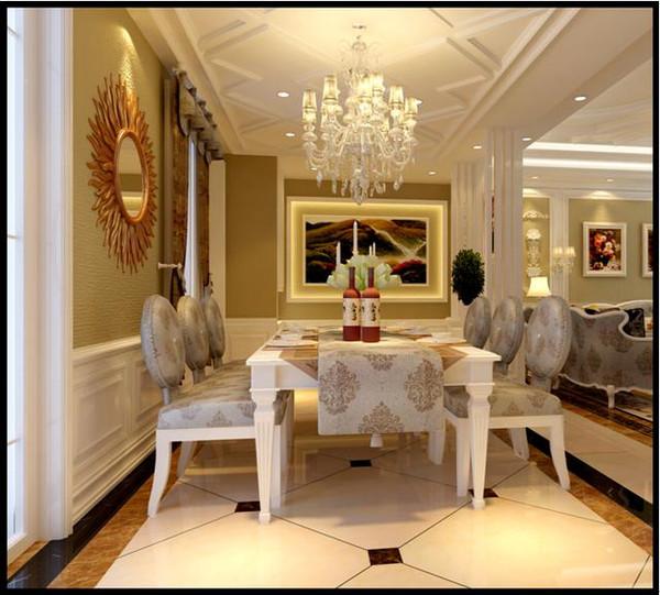 设计说明:客厅背景墙用瓷砖线条与壁纸,沙发背景做了石膏线和壁纸