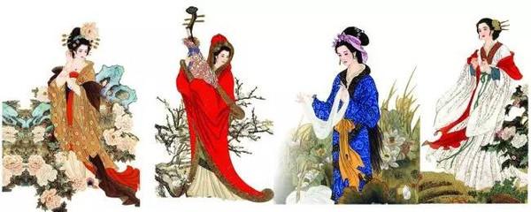 三个手绘古装少女