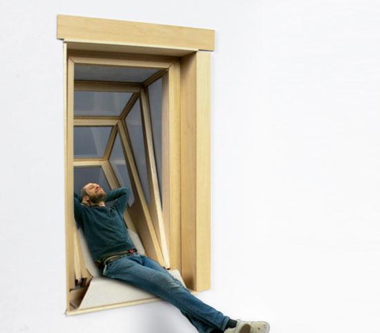 """""""hopper niche""""提供了一个空间,让人们可以斜依享受外面的视野"""