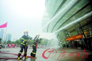 消防演练现场 广州日报记者葛宇飞摄
