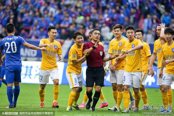 2015赛季末轮,江苏舜天1-3不敌上海申花