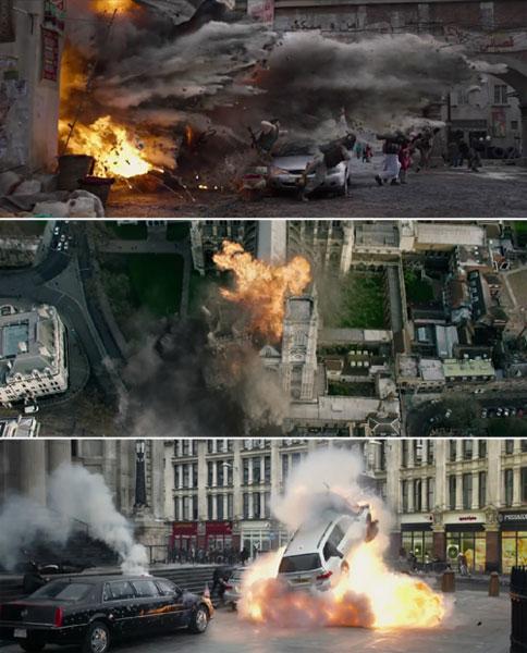 大量的爆炸灾难场面以及动作飞车戏展现在观众面前