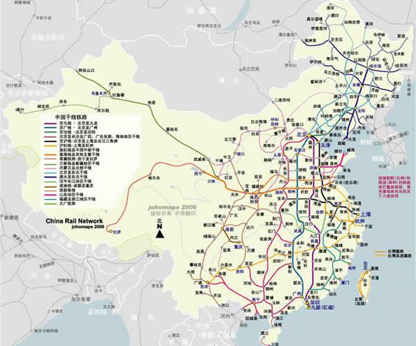 现代中国铁路地图