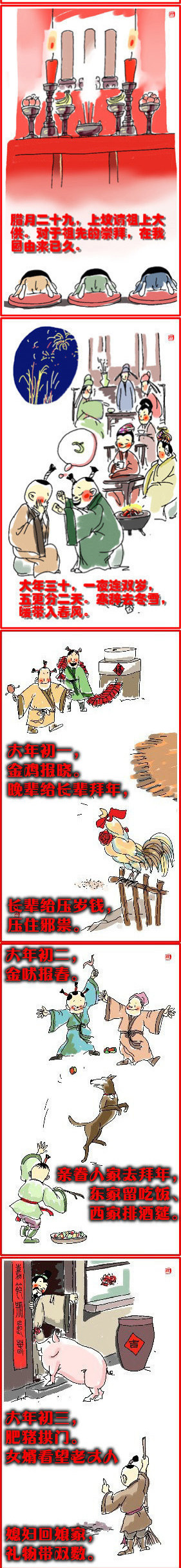 春节习俗手绘图片简单