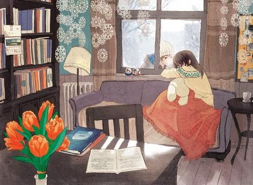 森系女孩插画:时光静好,岁月无声