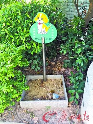 碧岭华庭社区宠物公厕尽是落叶。