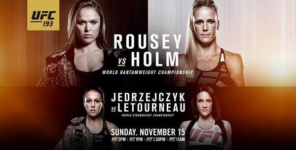 UFC中国讯 UFC193将于北京时间11月15日在澳大利亚墨尔本举行,本次赛事由5场主赛和8场副赛组成,UFC希望能刷新现场观众人数的新纪录。   头条主赛中,罗西(Ronda Rousey)将和霍尔姆(Holly Holm)进行女子雏量级冠军战。罗西在上一场和贝斯-科雷娅(Bethe Correia)的比赛中展示了自己的拳法,这一次她将面对9次前世界女子拳击冠军霍尔姆的考验。两位选手都保持着不败的职业战绩,因此这一战谁能延续自己的记录也是看点之一。   联合主赛中,耶德尔泽西克(Joanna Jed