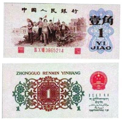换版纸币,背绿壹角纸币,要防颜色造假。