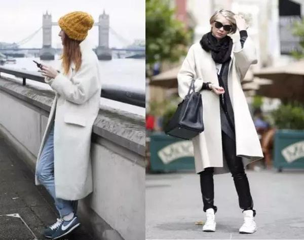 大衣搭配运动鞋,美起来!图片