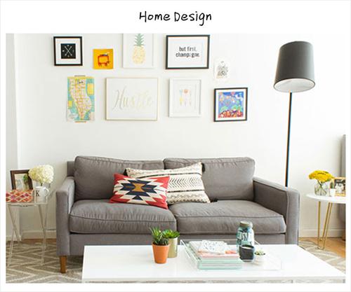 kelly的小客厅有着美式的活泼轻快,白色的沙发背景墙用各种可爱的装图片