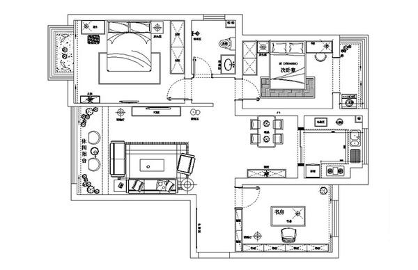郑州安和小区110平方三室两厅装修效果图