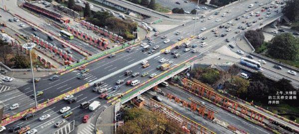 上午,大修后的三元桥交通次序井然