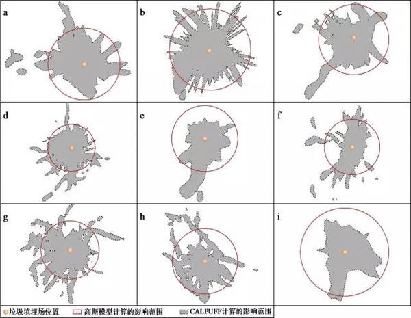 图7 CALPUFF模型和地面点源连续高斯模型影响范围比较