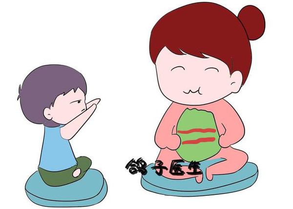 妈妈宝宝吃饭卡通