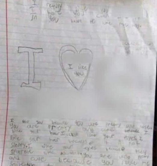 9岁男童给火伴女同窗写的情书。