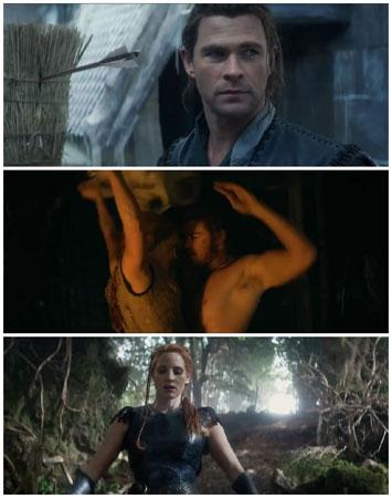 """克里斯-海姆斯沃斯扮演的""""猎人""""和杰西卡-查斯坦扮演的女英雄,在片中产生爱情火花"""