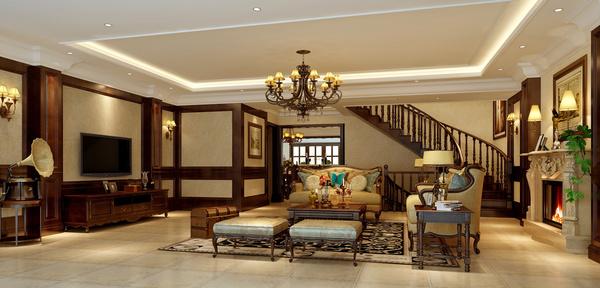 远洋高尔夫别墅装修案例 490㎡美式风格效果图欣赏图片