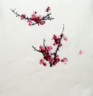 p10, 红梅作品《心与梅花一样清》 画法 步骤三:淡墨画远干图片