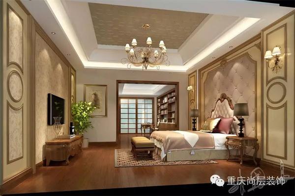 不管是墙面的护墙板,还是床头的拉扣软包,都十足的体现了美式的轮廓感图片