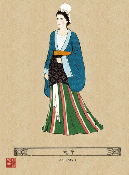 民国旗袍女子手绘图