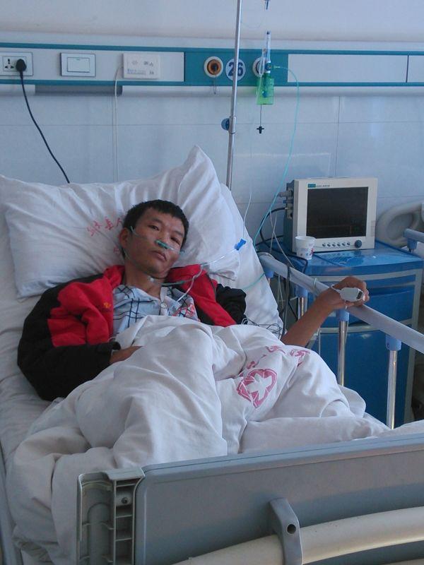 赵德付已经住进医院,接受专业输氧
