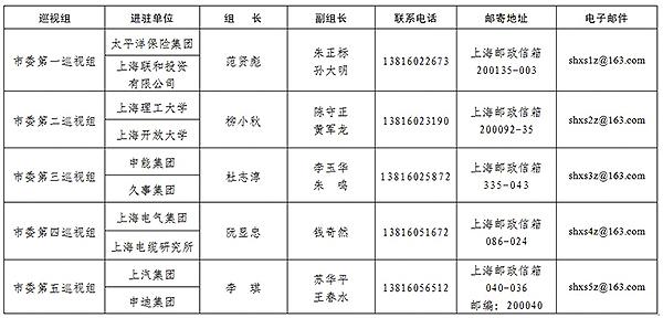 2015年上海市第三�巡�工作�M�v信息一�[表