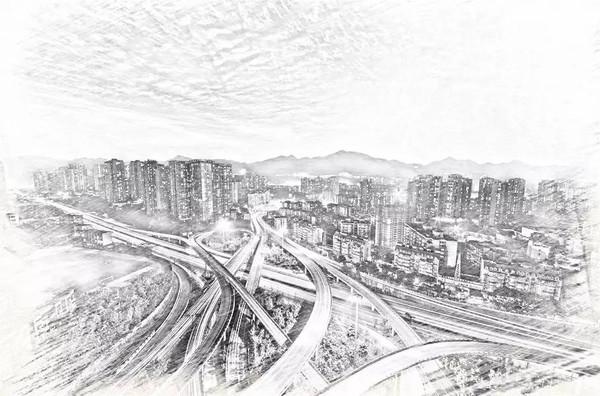 城市铅笔手绘画