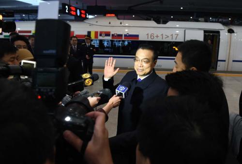 """""""高铁外交"""":李克强邀请中东欧16国领导人共乘高铁"""