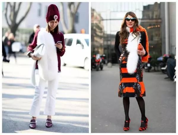 示范搭配:打底衫+白色毛衣外套+黑色紧身皮裤