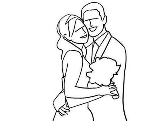 新郎新娘婚纱照手绘简笔