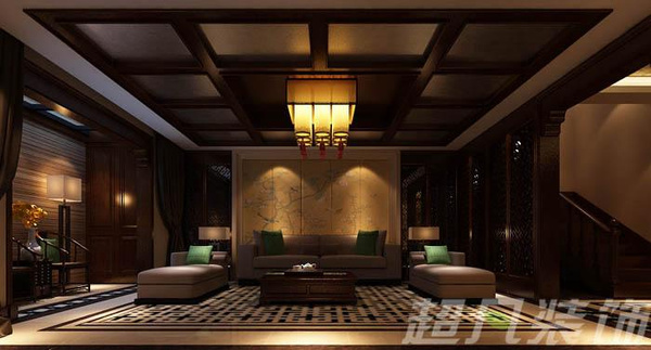 中式花格 装饰花盘             银河丹堤别墅中式古典风格效果图—