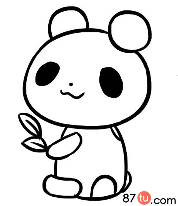转载请注明:小熊猫简笔画图解教程   在画上它抱着两片叶子   叶子上面在画两道线   在给小熊猫画上五官