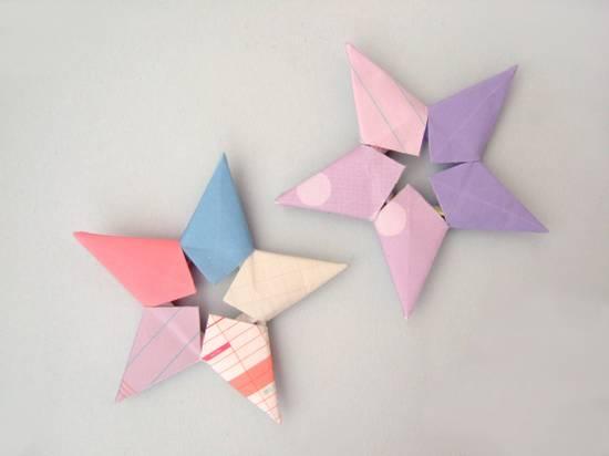 手工教程:组合五角星的折法