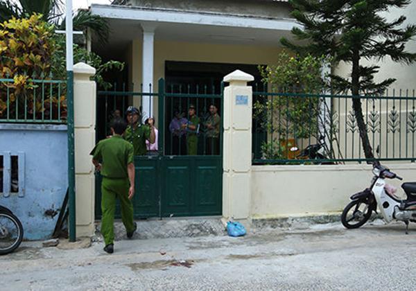 越南公安封锁发生开枪事件现场以便调查。 图片来自越南媒体