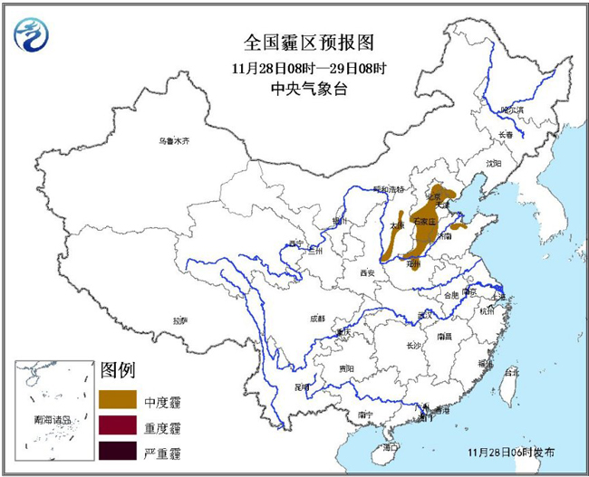 受高空槽影响,28日至29日,内蒙古东部、东北地区大部等地将有一次小到中雪过程,辽宁北部、吉林南部等地的部分地区有大雪。