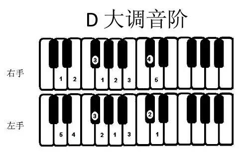 钢琴常用大小调音阶指法图图片