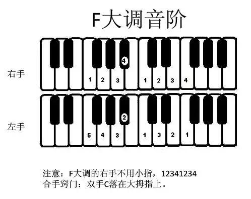 学钢琴必备音阶指法图!图片