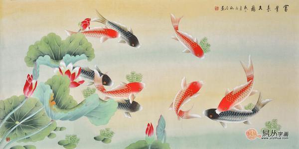 仇谷工笔画作品荷花鲤鱼《富贵长久图》
