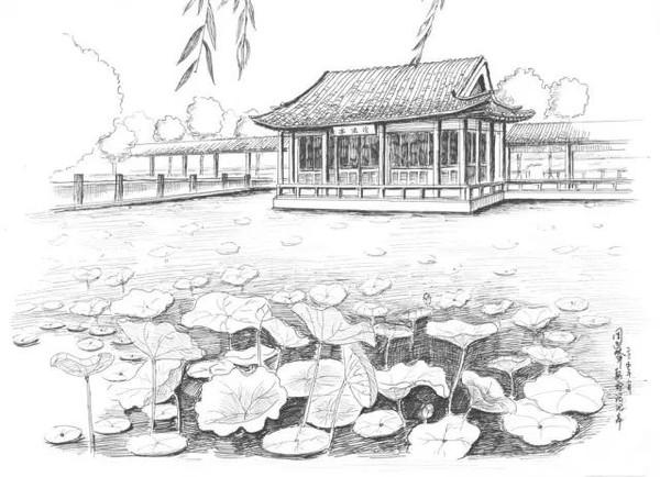 苏州园林的手绘效果图