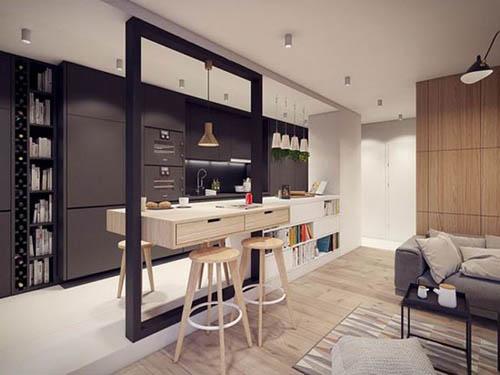 将厨房和客厅间的隔断设计为餐桌