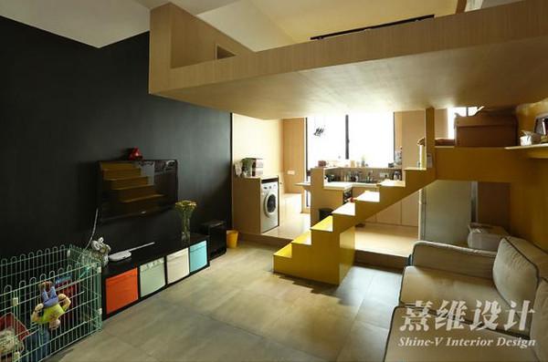 30平简约小平面第一眼就被私活吸引了!楼梯设计师复式怎么v平面图片
