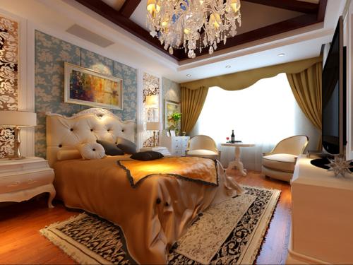 欧式经典别墅的主卧室