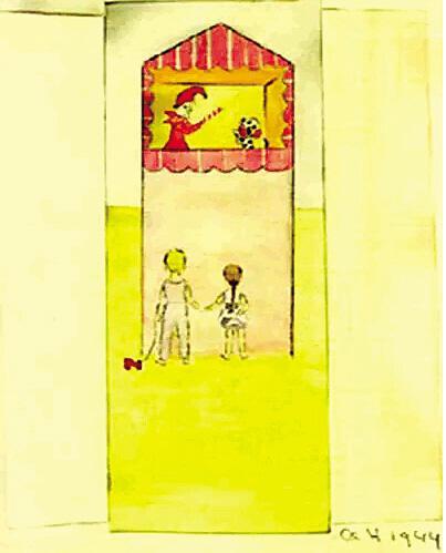 童年的赫本用彩笔画下了二战