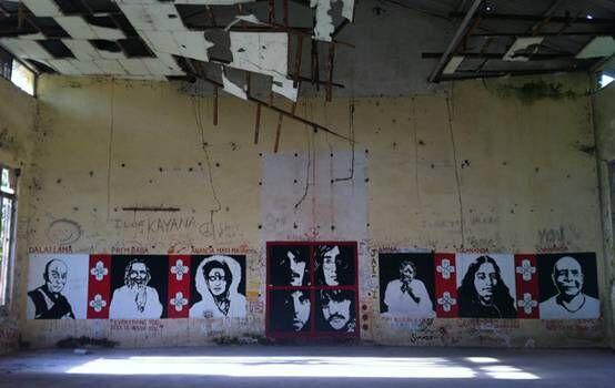 披头士乐队曾寓居的静修院内墙上的涂鸦