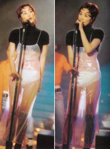 王菲当年的服装也是平地一声雷。那时竞争太激烈,香港各公司出唱片包装捧人,是费尽心机的。很明显,王菲搏了一把。这或许也是为数不多的我们可以看到天后大腿的照片了。