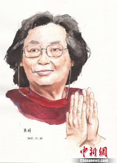 图为宁波效实中学学子手绘的屠呦呦画像 宁波效实中学供图 摄