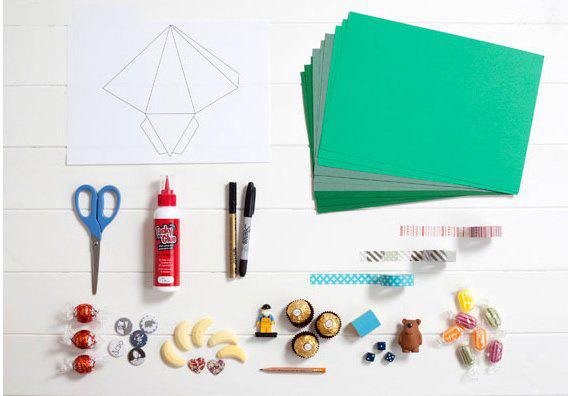 卡纸diy手工制作精致圣诞树造型礼物包装盒