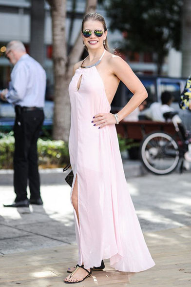 strapless pink formal dress