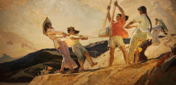 """王文彬作于1962年的油画《夯歌》(165*320cm)为""""妇女能顶半边天""""作了诠释"""