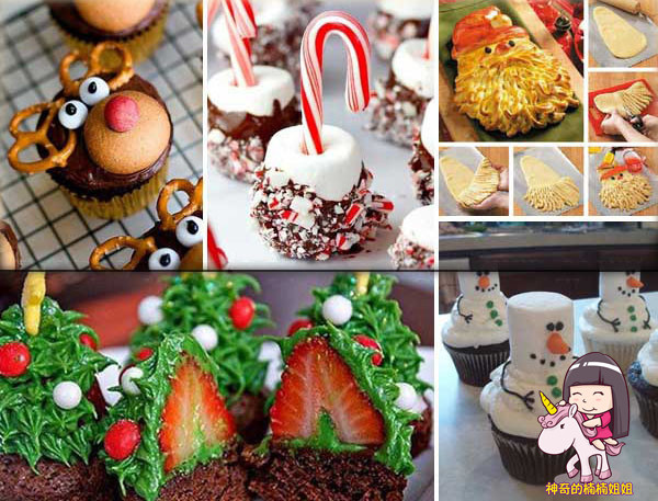 用草莓做的圣诞树,雪人造型的蛋糕          彩色糖豆,朱古力,棉花糖